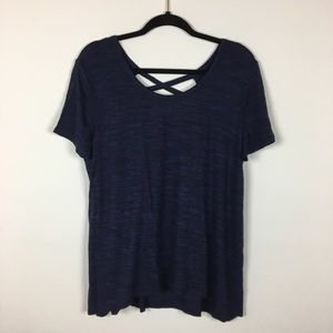 Navy Blue Soft Short Sleeve With Strappy Back Lg
